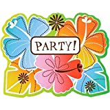 Amscan Sun-Sational Luau Party Hot Fun In The Invitations with Envelopes Value Pack (50Piece), Multicolor, 5 5/8 x 4 3/8