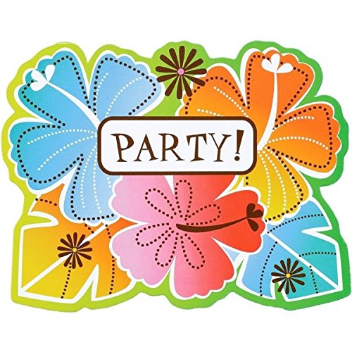 Amscan Sun-Sational Luau Party Hot Fun In The Invitations with Envelopes Value Pack (50Piece), Multicolor, 5 5/8 x 4 3/8 by Amscan