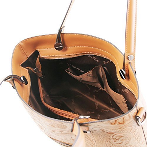 Tuscany Leather Atena Borsa shopping in pelle stampa floreale Nude Cognac