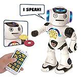 LEXiBOOK Powerman The First edutainment Robot, Read Stories, Tells Jokes, Plays Music, Moves Dances, Record Play, Fun Foam Discs, Batterie, White, Blue, ROB50EN