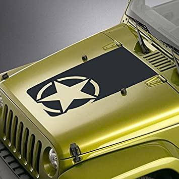 US Army Military Oscar Mike Jeep Car Wrangler Distressed Star Hood Sticker Decal
