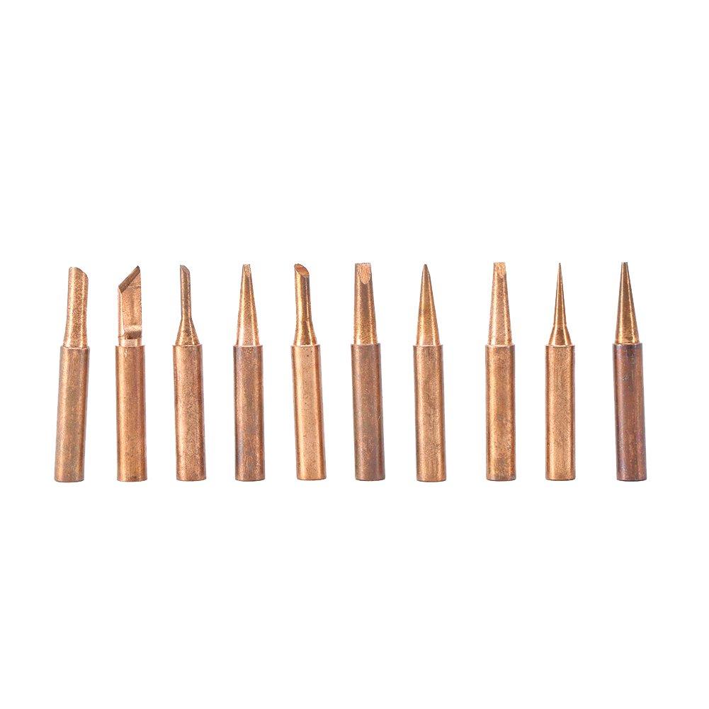 La punta de cobre pura de la soldadura del hierro 10pcs/set 900m-T de cobre sin plomo extremidad de la soldadura para 936, 937, 938, 969, estación que ...