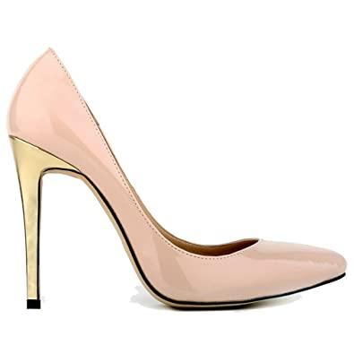 Xianshu Womens Patent Leather Shallow Mouth High Heel Stiletto Shoes Gold Heel Point Toe Pumps