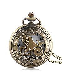 YISUYA Retro Zodiac Capricorn Pocket Watch Hollow Bronze Quartz Pendant Fob Watches Birthday Christmas Gift