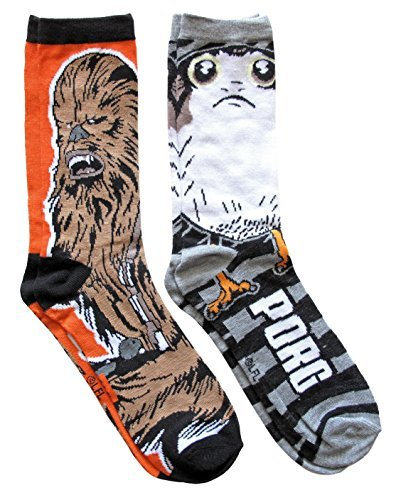 Star Wars Porg and Chewbacca Men's Crew Socks 2 Pair Pack Shoe Size 6-12 (Mens Star Wars Shoes)