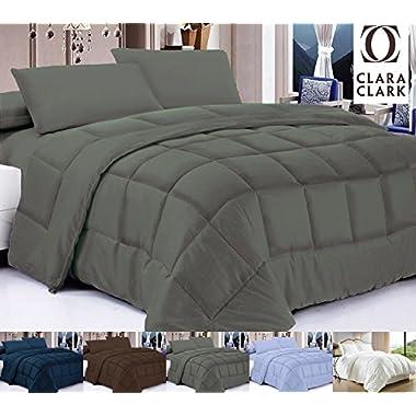 Clara Clark Gray All Season Down Alternative Comforter / Duvet, Twin/Twin XL, Feather Light and Warm Series