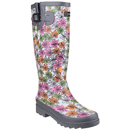 Cotswold Womens/Ladies Flower Power Floral Pattern Wellington Boots Grey