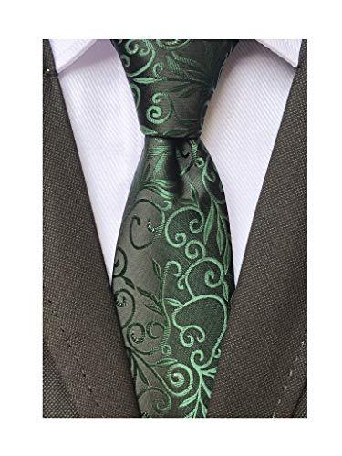 Men Classic Dark Green Silk Tie Assorted Dress Skinny Necktie Gift for Birthdays