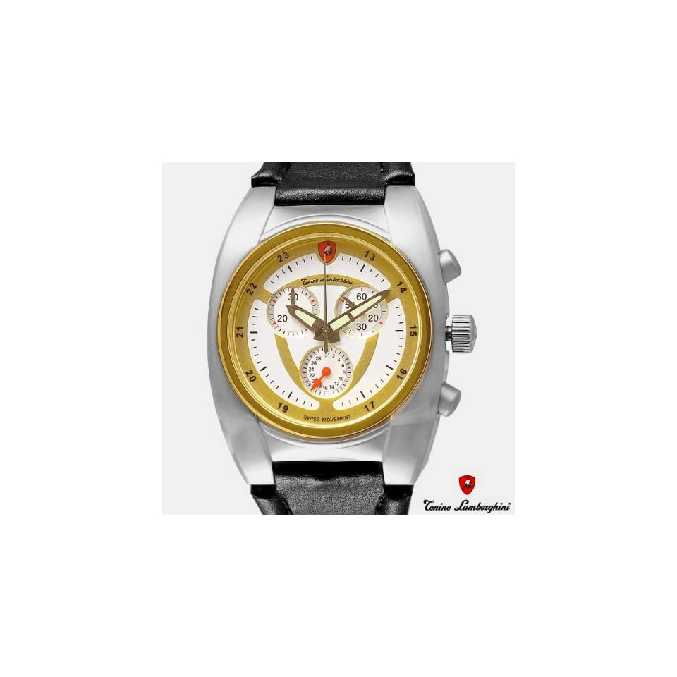 TONINO LAMBORGHINI Mens Chronograph Watch New Gold Plate Stainless Steel Swiss EN038L.311