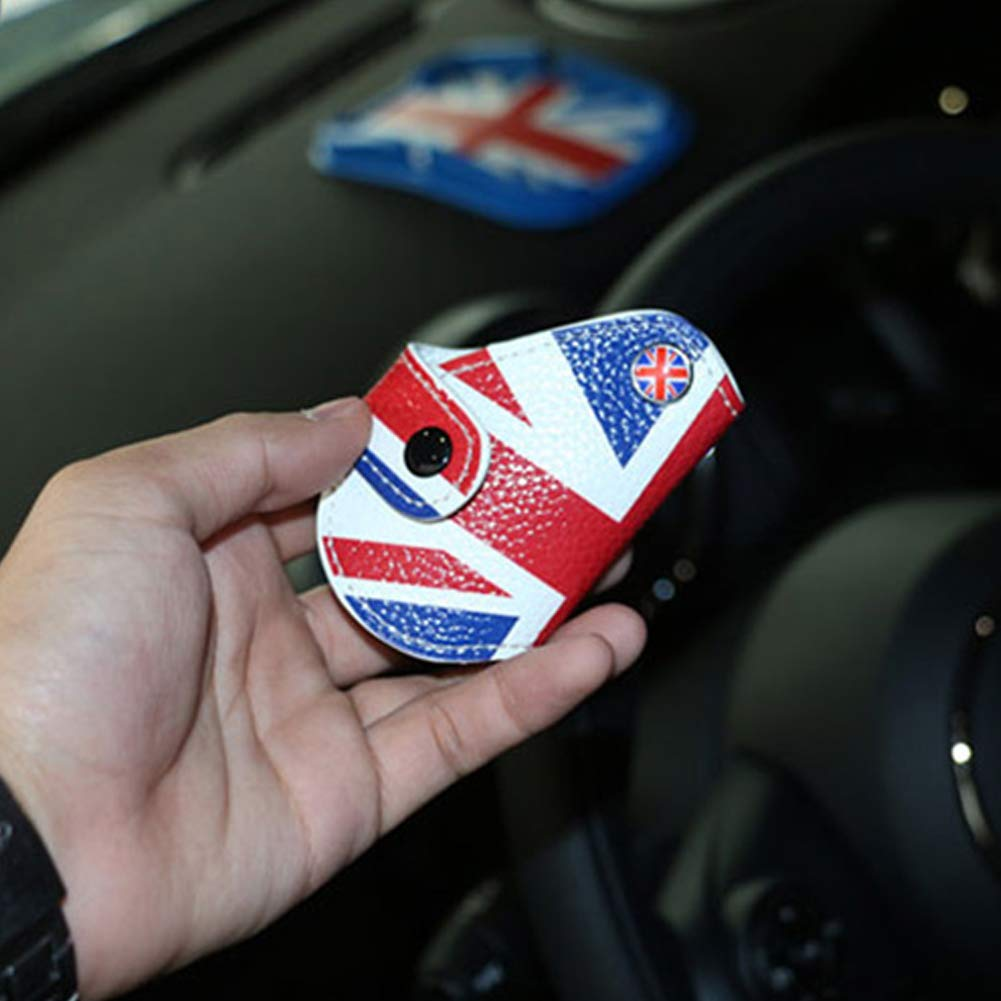 Miniclue Black Gray Union Jack UK Flag Style Real Leather Remote Key Fob Bag Cover Case Holder 2008-up Mini Cooper R55 R56 R57 R58 R59 R60 R61 F54 F56