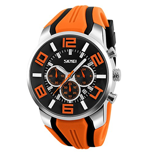 - Gets Unique Big Face Sports Watch Silicone Band Sport Outdoor Wristwatches Design Quartz Casual Watches for Men (Orange)