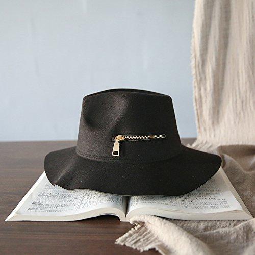 stts Alero Ancho Sombrero Otoño E Invierno Invierno Invierno Señoras Cremallera Retro Personalidad Marea Sombrero de Jazz Sombrero de Fieltro,Negro,Todo el código 1e5ff5