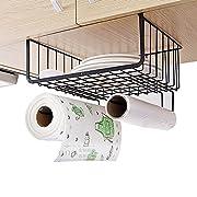 Under Shelf Wire Rack Basket Kitchen Organizer, Stainless Steel, Black
