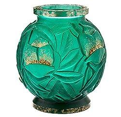 Crystal Gilded Green Large Vase