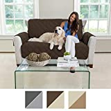 MIGHTY MONKEY Premium Reversible Couch Slipcover, Furniture Protector, 2'' Elastic Strap, Machine Washable, Cover Perfect for Kids, Dogs, Cats, Seat Width Up to 54'' (Loveseat: Chocolate/Taupe)