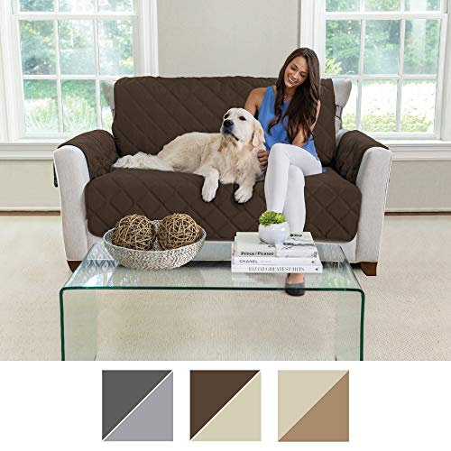 MIGHTY MONKEY Premium Reversible Couch Slipcover, Furniture Protector, 2'' Elastic Strap, Machine Washable, Cover Perfect for Kids, Dogs, Cats, Seat Width Up to 54'' (Loveseat: Chocolate/Taupe) by MIGHTY MONKEY