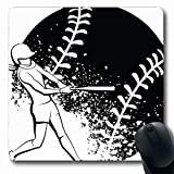 Ahawoso Mousepads Splatter Black White Softball Batter Sports Recreation Athlete Ball Bat Drawing Girls Design Artwork Oblong Shape 7.9 x 9.5 Inches Non-Slip Gaming Mouse Pad Rubber Oblong Mat