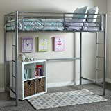 WE Furniture Twin Metal Loft Bed, Silver