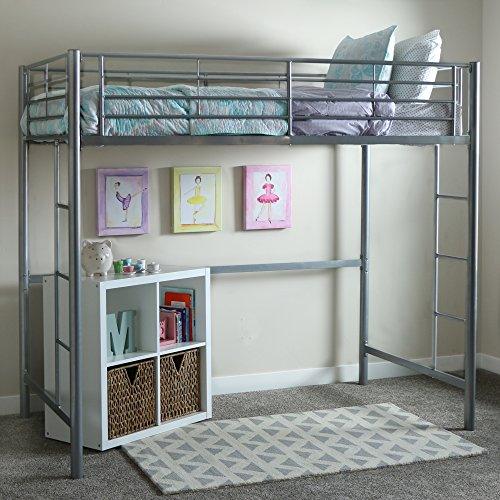 WE Furniture Twin Metal Loft Bed, Silver Loft Style Furniture