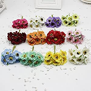 XGM GOU 60 Pcs/Lot 14 Colors Silk Cherry Flowers Small Artificial Poppy Bouquet Wedding Decoration Mini Rose Flowers for DIY Scrapbook 35