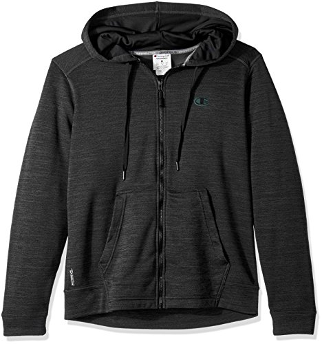 Champion Men's Premium Performance Fleece Full Zip Hoodie, Forest Grove Heather/Black, Small