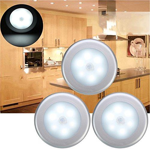 DADEQISH 3 stücke Batteriebetriebene PIR Bewegungssensor 6 LED Nachtlicht Weiß Warmweiß Lampe für Flur Schrank Innenlicht (Farbe   Warm Weiß)