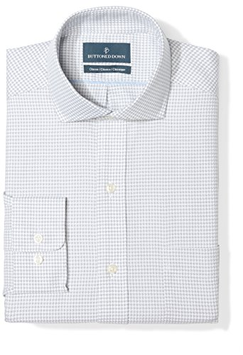 BUTTONED DOWN Men's Classic Fit Cutaway Collar Pattern Non-Iron Dress Shirt, Grey Houndstooth, 19.5
