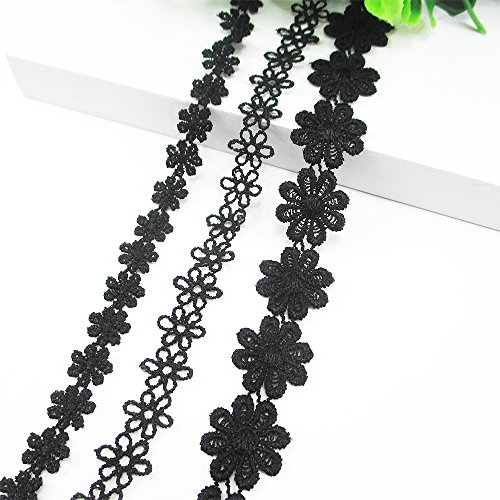 Crochet Ribbon Floral Applique - 15 Yards Total 100% Cotton Black Flower Lace Trim Applique Sewing DIY Craft Make Clavicle Necklace Bracelet Anklet (3 Rolls 5 Yards Each)