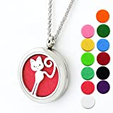 Lademayh Essential Oil Diffuser Necklace Aromatherapy Cute Cat 30mm Stainless Steel Diffuser Locket, Perfume Pendant Necklace Gift for Girl Friend