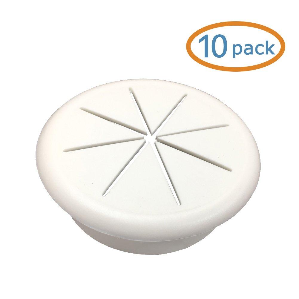 HYCC 2-3/8'' Flexible Desk Grommet - Color: White - 10 Pack