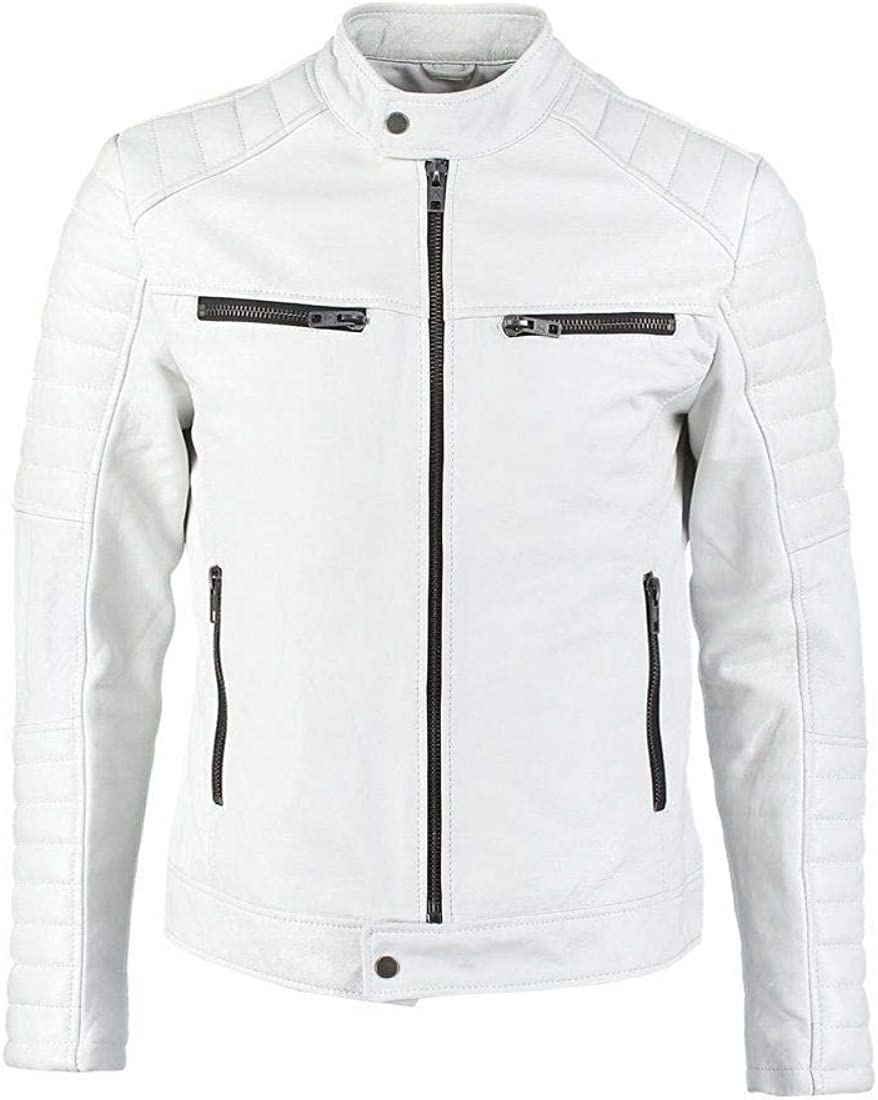 RedSeam Mens Genuine Lambskin Leather Motorcycle Slim Fit Biker Jacket RM012