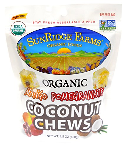 SunRidge Farms Organic Mango Pomegranate Coconut Chews, 4.5 Ounce (Coconut Pomegranate)