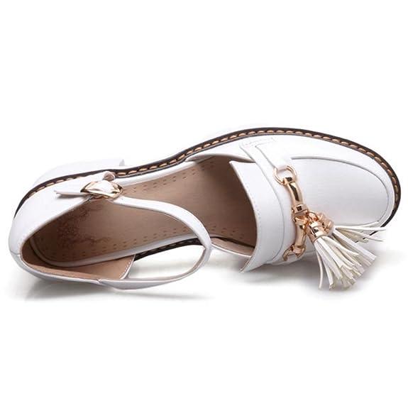 1d1c7480 FANIMILA Mujer Moda Verano Cerrado Tacon Ancho Sandalias Chicas Colegio  Strappy Zapatos (43 EU, 57White): Amazon.es: Zapatos y complementos