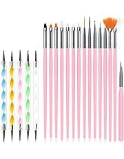URAQT Nagelkunstborstelset, 15-delige acryl-nagelborstel-schilderpen en 5-delige nagelpuntengereedschap, Nagelpen Designer Nail Art-schilderset voor doe-het-zelvers en professioneel gebruik