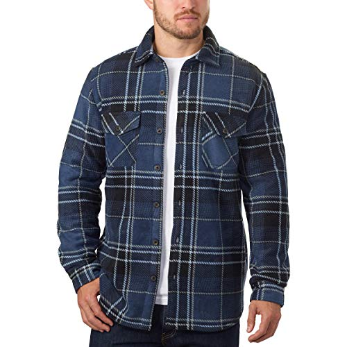 (Men's Plaid Super Plush Jacket Shirt (Dark Blue, Large))