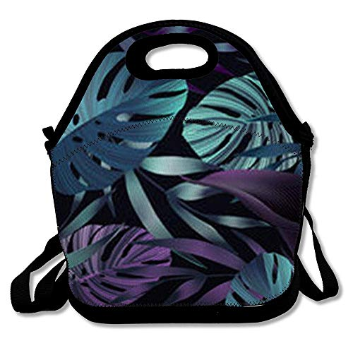 Tropic Supply Miami (Insulated Lunch Bag for Adult Men Women Miami Blue Tropic Tropical Flowers Jungle Leaves Bird Paradise Floral Pattern Exotic Nature Flower Reuable Lunch Tote Box for)
