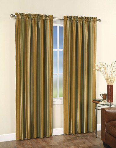 CHF & You Faux Silk Stripe Lined Curtain Panel , Green, 42-Inch X 84-Inch