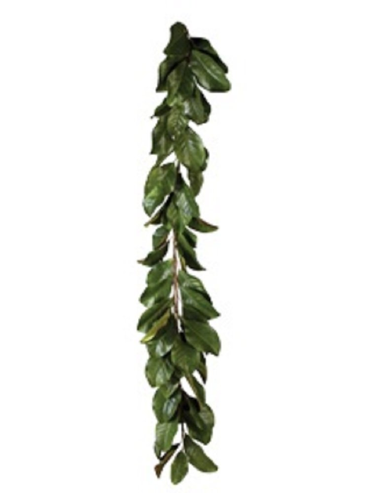 Magnolia 5' Garland or 28'' Magnolia Wreath in All Green Leaves or Mixed Burgundy and Green Leaves Buyers' Choice (Green Garland)