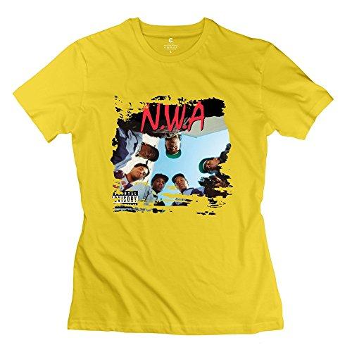 Fire-Dog Women's NWA Straight Outta Compton Cast 100% Cotton T-shirt Size XS Yellow]()