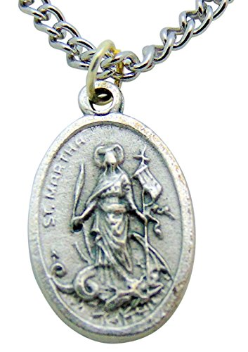 [St Martha Medal with St Mary Magdalen 3/4 Inch Metal Saint Pendant with Chain] (Martha Medal)