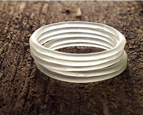 Overproof Rum - Cruzan Bangle - Recycled Rum Bottle Stackable Bracelet - Matte White Sea Glass