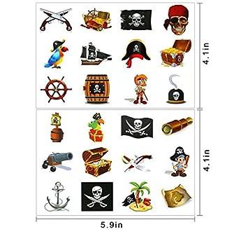 Tatuajes Pirata Temporales para Niños, 2 Packs de 12 Tatuajes de Estilo Pirata, Tatuaje Temporal Pegatinas Para Chicos Aventuras Piñata Juego ...