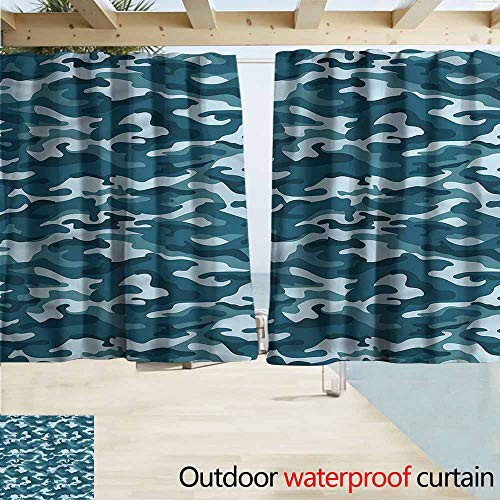 MaryMunger Rod Pocket Top Blackout Curtains/Drapes Camo Camouflage Oceanic Colors Drapes for Outdoor Decor W72x45L Inches