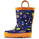 LONECONE Rain Boots with Easy-On Handles in Fun Patterns for Toddlers and Kids, Beetle Boots, Beetle Boots, Beetle Boots, 9 Toddler