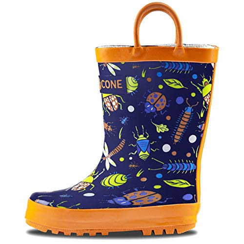 LONECONE Rain Boots with Easy-On Handles in Fun Patterns for Toddlers and Kids, Beetle Boots, Beetle Boots, Beetle Boots, 7 Toddler