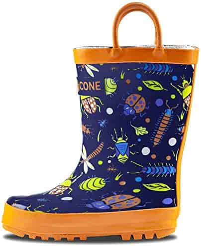 LONECONE Rain Boots with Easy-On Handles in Fun Patterns for Toddlers and Kids, Beetle Boots, Beetle Boots, Beetle Boots, Toddler 7
