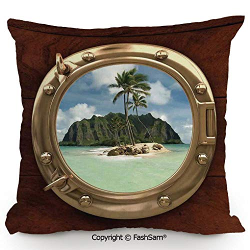FashSam Throw Pillow Covers Porthole Inside a Ship with a View of a Deserted Island Hill Cliff Tropical Holiday for Couch Sofa Home Decor(14