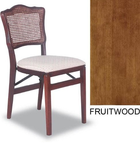 French Cane Back Folding Chair-Set of 2-Fruitwood (Fruitwood) (32.75