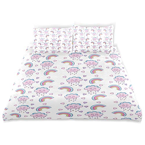 Cute Clouds with RainbowKids Bedding Super Soft Three Sheet Set (2 Pillowcase, 1 Duvet Cover) for Boys, Girls Kids and Teens Bedding