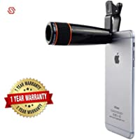 Supreno 12X Optical Zoom Telescope Lens Clip On Cell Phone Camera Lens for iPhone 8/7/6s/6 Plus/SE, Samsung S7/S6/Edge, LG, Moto, HTC, Sony and more